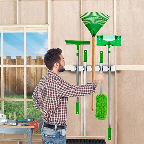 Wall Mount Mop Broom Holder Tool Storage Rack For Closet